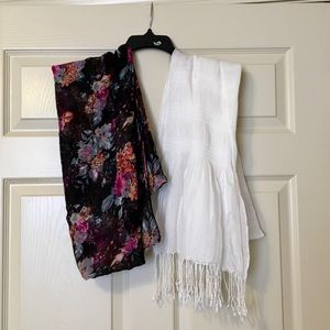 Floral Scarf and White Scarf